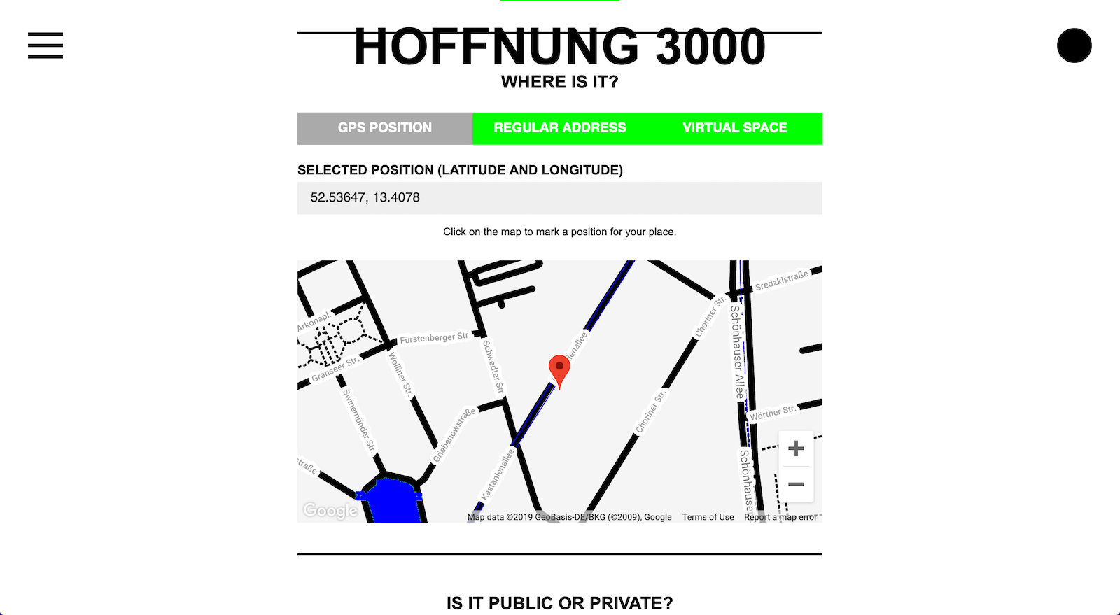 HOFFNUNG 3000 Create new place