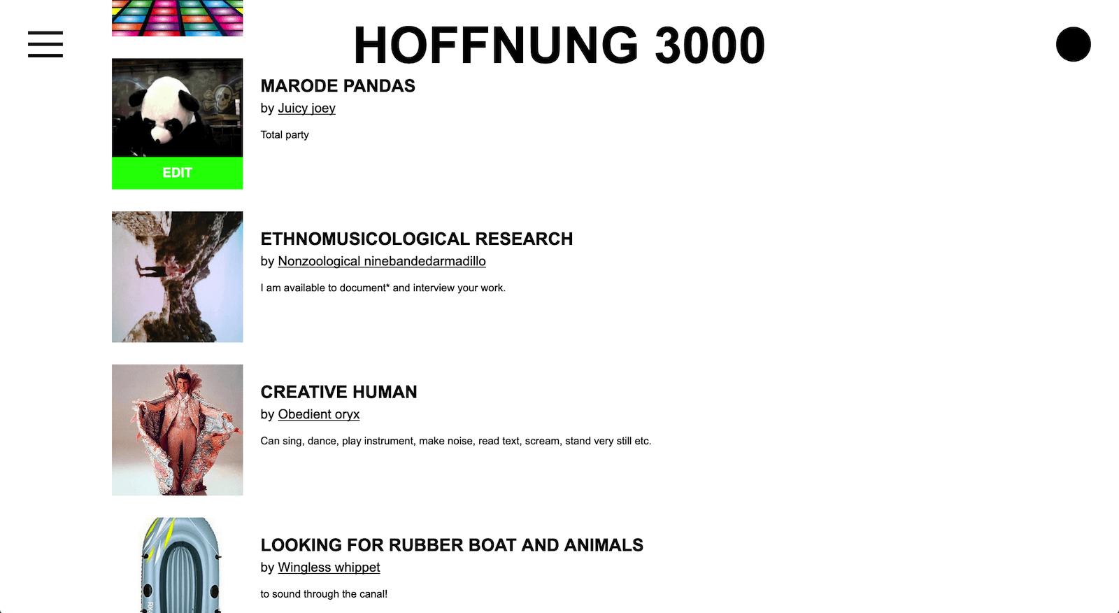 HOFFNUNG 3000 Resources list